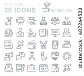 set vector line icons  sign and ... | Shutterstock .eps vector #607264523