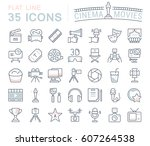 set vector line icons  sign and ... | Shutterstock .eps vector #607264538