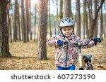 happy kid boy of 3 or 5 years... | Shutterstock . vector #607273190