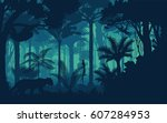 vector evening tropical... | Shutterstock .eps vector #607284953