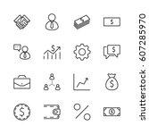 set of business vector line... | Shutterstock .eps vector #607285970