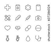 set of medicine vector line... | Shutterstock .eps vector #607286024