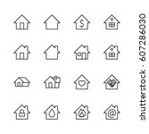 set of house vector line icons. ... | Shutterstock .eps vector #607286030