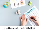 adoption form in family concept ...   Shutterstock . vector #607287089