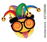 april fools day jester hat ... | Shutterstock .eps vector #607288088