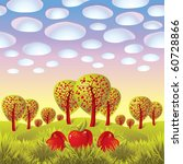 apples in a grass  fruit trees... | Shutterstock .eps vector #60728866