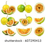set passion fruit isolated on...   Shutterstock . vector #607290413