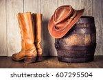 wild west retro leather cowboy...   Shutterstock . vector #607295504
