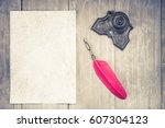 vintage red quill pen and...   Shutterstock . vector #607304123