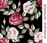 Stock photo seamless pattern with roses hand draw watercolor illustration 607304318