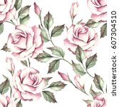 seamless pattern with roses.... | Shutterstock . vector #607304510