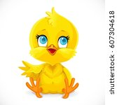 cute baby chick sit on a white... | Shutterstock .eps vector #607304618