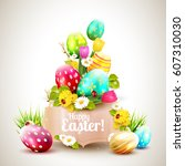 easter greeting card with... | Shutterstock .eps vector #607310030