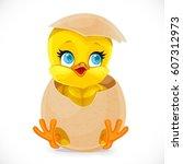 cute little cartoon chick... | Shutterstock .eps vector #607312973