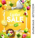 easter sale flyer with flowers  ... | Shutterstock .eps vector #607313234