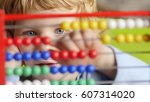 young caucasian boy early... | Shutterstock . vector #607314020