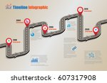 design template  road map... | Shutterstock .eps vector #607317908