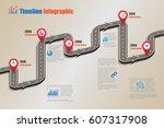 design template  road map... | Shutterstock .eps vector #607317908
