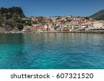 parga  greece july 17  2014 ... | Shutterstock . vector #607321520