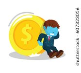 blue businessman trying to hold ... | Shutterstock . vector #607323056