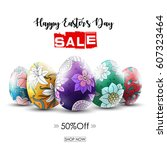 easter sale banner with... | Shutterstock . vector #607323464