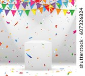 white podium with party flag... | Shutterstock .eps vector #607326824