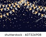 gold and silver party flag on... | Shutterstock .eps vector #607326908