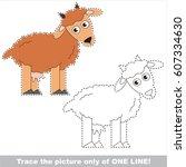 horn dairy goat. dot to dot... | Shutterstock .eps vector #607334630