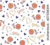 seamless valentines day pattern ...   Shutterstock .eps vector #607338344