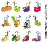 funny fruit and berry juices in ... | Shutterstock .eps vector #607340498