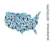 american people by the map... | Shutterstock .eps vector #607341494