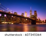 view of brooklyn bridge and... | Shutterstock . vector #607345364