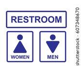 restroom sign set isolated... | Shutterstock .eps vector #607348670