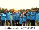 volunteer group of people for...   Shutterstock . vector #607348814