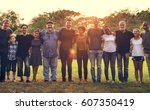 group of people support unity... | Shutterstock . vector #607350419