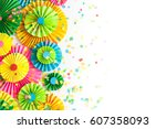 colorful bright paper rosette....   Shutterstock . vector #607358093