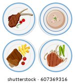 four plates of steaks and soup...   Shutterstock .eps vector #607369316