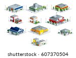 isometric markets malls | Shutterstock .eps vector #607370504