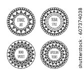 unique round shape logo... | Shutterstock .eps vector #607374038
