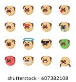 set of  dog emoticon vector... | Shutterstock .eps vector #607382108