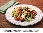 salad with tuna  egg  tomato... | Shutterstock . vector #607382669