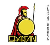 spartan with shield and spear.   Shutterstock .eps vector #607382948