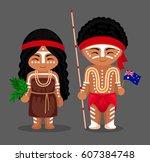australian aborigines in... | Shutterstock .eps vector #607384748