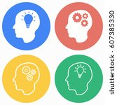 brain vector icons set....   Shutterstock .eps vector #607385330
