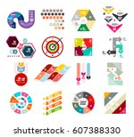 collection of trendy colorful... | Shutterstock .eps vector #607388330