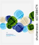 color glossy squares with round ... | Shutterstock .eps vector #607388474