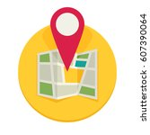 location map flat design vector ... | Shutterstock .eps vector #607390064