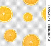 slices of citrus  lemon  orange ... | Shutterstock . vector #607390094