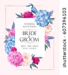 wedding invitation with flowers | Shutterstock .eps vector #607396103