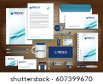 cyan  blue digital tech... | Shutterstock .eps vector #607399670